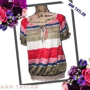 ANN TAYLOR Striped Peasant Blouse